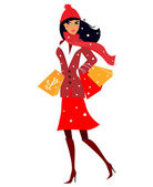 Winter shopping: Beautiful black hair woman in red costume on shopping — Stockvektor