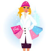 Winter shopping: Beautiful brown hair woman with pink shopping bags in city — Stock Vector