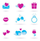 Collection of wedding, love and Valentine's day icons — Stock Vector