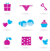 Collection of Love and Valentine's day icons and symbols - pink — Stok Vektör