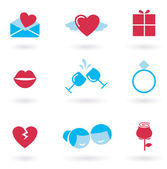 Valentine's day and Love icon collection - red — Stock Vector