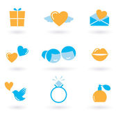 Valentine's day and Love icon collection - orange and blue — Stock Vector