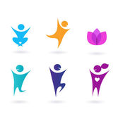 Collection of human icons - yoga and sport — Stock Vector