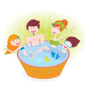 Happy family with two children in whirlpool bath — Stock Vector