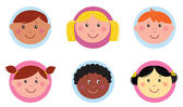 Cute diversity kids icons or buttons - pink and blue — Stock Vector