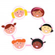 Unity - multi cultural woman group union / network — Stock Vector