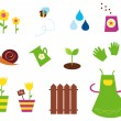 Garden, spring & nature icons and elements — Stock Vector