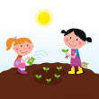 Two happy kids watering and planting plants in the garden — Stock Vector #4991596