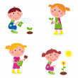 Gardening children collection isolated on white — Stock Vector #4991597