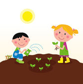 Two happy kids watering and planting plants in the garden — Stock Vector
