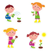 Gardening children collection isolated on white — Stock Vector