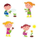 Jardinagem children coleção isolada no branco — Vetor de Stock