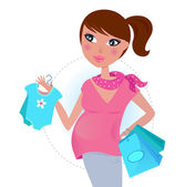 Pregnant mom on shopping for baby boy — Stock Vector
