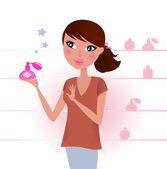 Sexy Woman in perfume shop — Stock Vector