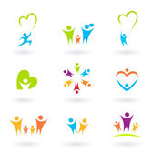 Children, family, community and protection icons and symbols — Stock Vector