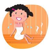 Gezondheid en Wellness: Happy lachende vrouw ontspannen in de sauna — Stockvector