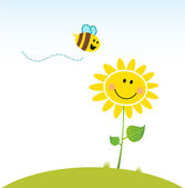 Spring & nature: Happy yellow flower with bee — 图库矢量图片