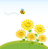 Cute yellow honey bee with group of flowers — Stock Vector