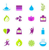 Water, wellness, nature and zen icons - pink, green, blue — Stock Vector