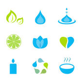 Water, nature and wellness icons - green and blue — Stock Vector