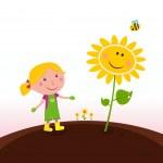 Spring gardening : Gardener child with sunflower in the garden — Stockvector