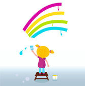 Little artist - cute child painting Rainbow on the Wall — Stock Vector