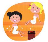 Cute women / friends relaxing in a hot sauna — Stock Vector