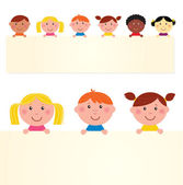 Cute multicultural kids holding banner with blank message sign — Stock Vector