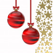 Golden stars with Christmas balls — Stock Photo