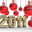 Golden 2011 with Christmas balls — Stockfoto