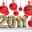 Golden 2011 with Christmas balls - Stock Photo