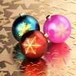 Golden stars and Christmas balls — Stock Photo