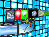 Filmstrip op blauwe achtergrond — Stockfoto