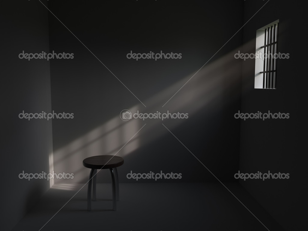3D rendering of prison cell with bars on window — Stock Photo #4270790