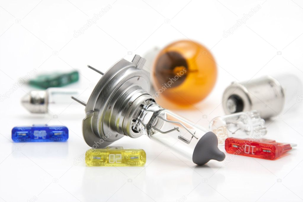  Automobile  spare light bulbs  and fuses on white background  Stock Photo #4367300