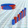 Stock Photo: Blue and red spreadsheet