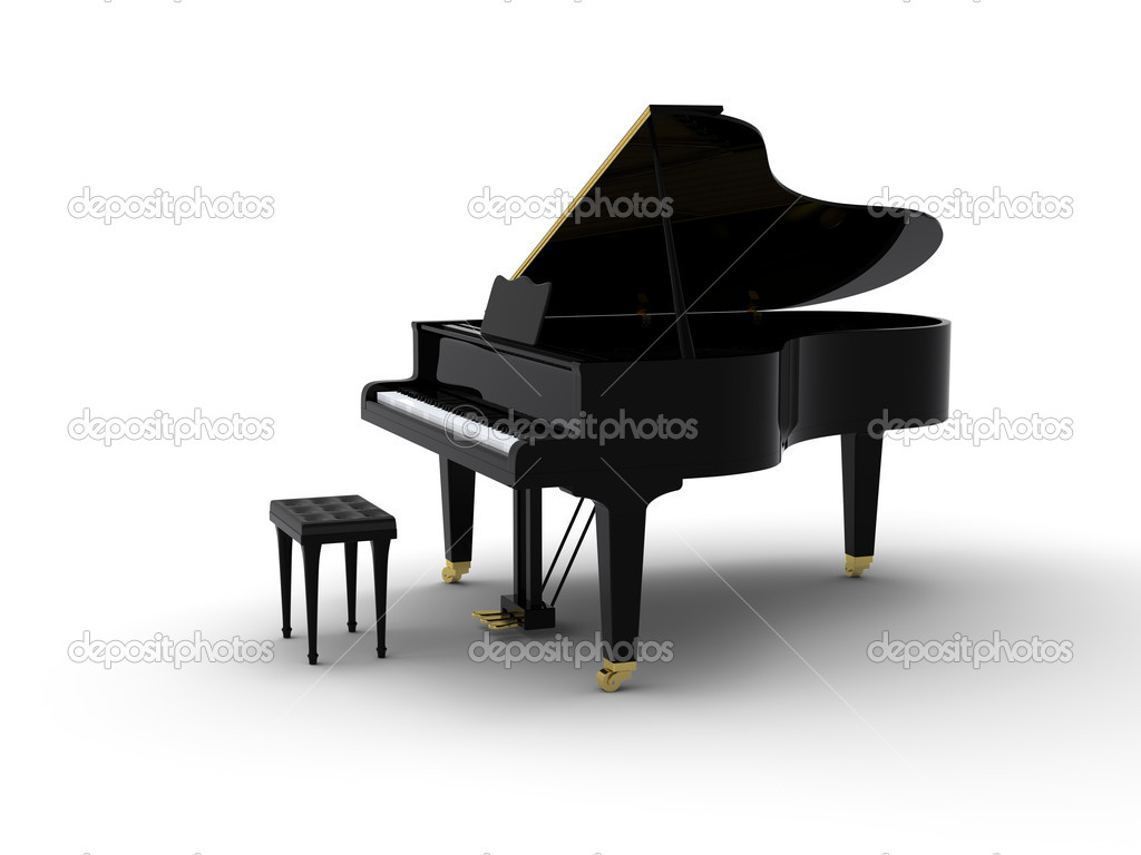 Grand piano on white background — Stock Photo #4531651