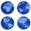 Four blue globes showing different countries — Stock Photo