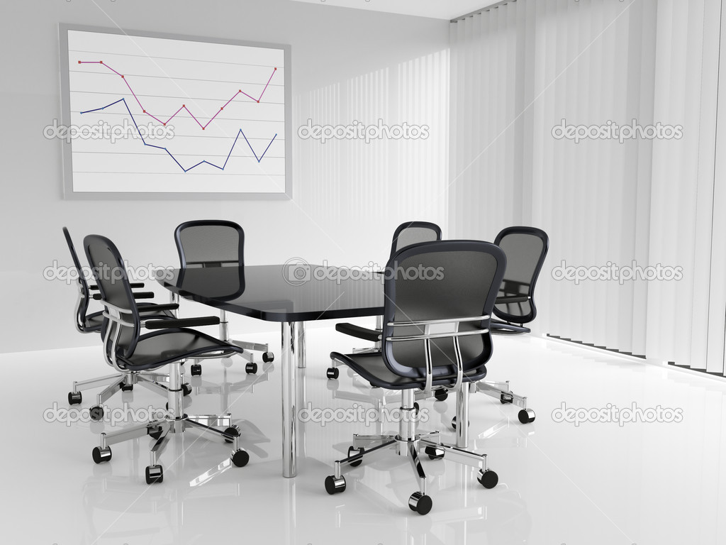Conference table with six chairs in conference room — Stock Photo #5199515