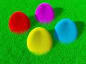 Färgglada fluffiga påskägg — Stockfoto