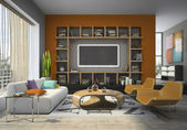 View on the modern interior with fireplace — Stock Photo