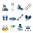 Ski and snowboard equipment icons - Stock Vector