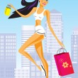 Fashion shopping girls with shopping bag - Stock Vector