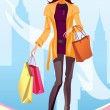 Fashion shopping girl with shopping bag in New York - Stock Vector