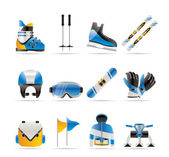 Ski and snowboard equipment icons — Stock Vector