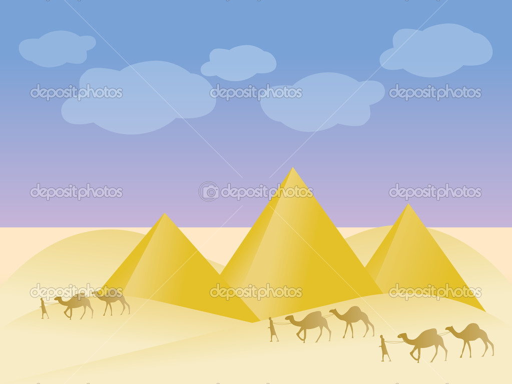Egypt and pyramid landscape - vector illustration — Stock Vector #4965515