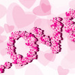 Valentine Background with caption love - Stock Vector