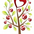 Valentine&#039;s day tree with leafs - Stock Vector