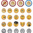 Different kinds of Smiling faces icons - Stok Vektör