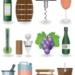 Drink and Wine icons - Stok Vektör